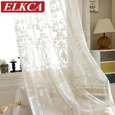 european white embroidered voile curtains bedroom sheer curtains for living room tulle window curtains panels
