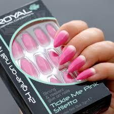 Royal Umělé Nehty Růžové S Přechodem Nalepovací S Lepidlem 3g Tickle Me Pink Stiletto 24 Glue On False Nails Tips 24ks