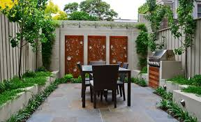 Outdoor Living:Tiny Backyard With Modern Outdoor Wall Art Decor And Small  Table Also Chairs
