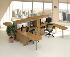 ... Smart And Exciting Office Cubicles Design Ideas : Cozy Wooden L Shape  Cubicle Workstation Desk With ...
