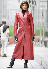 long red leather coat