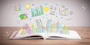 drawing of a colorful business scheme on an opened book stock photo 27937591