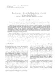 How They Measure The Speed Of Light Pdf How To Measure The Speed Of Light At Your University