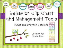 Free Behavior Charts For 2nd Graders Behavior Clip Chart And Management Tools Owls Chevron Editable