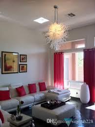 modern art decoration white hand blown glass hanging led chandelier light high ceiling decorative modern crystal pendant lamps chandelier for bedroom