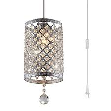 surpars house plug in pendant light silver crystal chandelier with 17 cord and on off switch in line