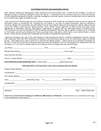 Background Check Authorization Form Extraordinary Background Check Disclosure And Authorization Form Free Download