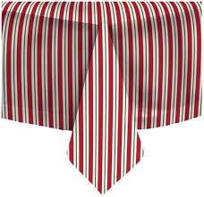 waverly fabric tablecloth red white green stripe 60 round holiday