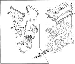 3 exploded view of the timing cover assembly for the 1 5l and 1995 1 6l engines 1995 98 1 8l engine is similar