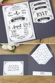 Wedding Invitation Templates With Photo Rustic Wedding Invitations Printable Set Black