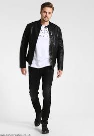 biggest faux leather jacket black armani exchange m2yyec