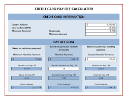 credit card payoff calculator excel credit card payoff calculator excel templates