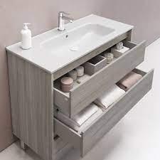 Sansa 32 Inches Modern Standing Bathroom Vanity 3 Drawer Grey With Cer Secretbathstore