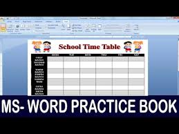 Exercise 06 Ms Word Practice Book How To Make School Time Table