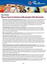 dementia fact sheet fact sheet tips on how to interact with people with dementia