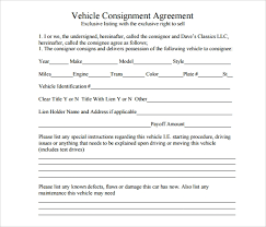 consignment form for cars 16 sample consignment agreement templates word pdf