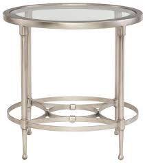 cordelia round metal end table with glass top