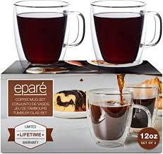2 day free shipping on thousands of products! Amazon Com 12 Oz Glass Coffee Mugs Set Of 2 Double Wall Clear Glasses Insulated Glassware With Handle Large Espresso Latte Cappuccino Or Tea Cup By Epare Coffee Cups Kitchen Dining
