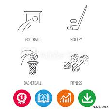 Football Ice Hockey And Fitness Sport Icons Basketball