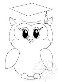 Small Picture Cute owl graduation Coloring Page