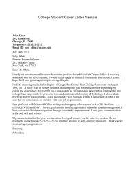 Sample Cover Letter For College Application Excellentrnship Letters
