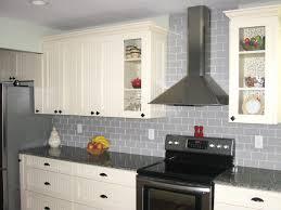 Rectangular Kitchen Tiles Rectangle Soft Gray Tile Back Splash Plus White Wooden Cabinet And