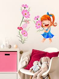 wall stickers girls room decal cute baby with cosmos flowers pink kids room design