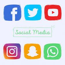 social media logos. hand drawn social media icons free vector logos