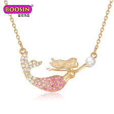 china new arrival whole gold crystal mermaid pearl necklace china necklace mermaid necklace