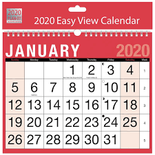 2020 Red Black Easy View Calendar