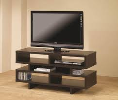 Furniture: Extraordinary Cappuccino Geometric Style Modern Tv Stands Cheap  Featuring Airy 3 Tier Open Shelves