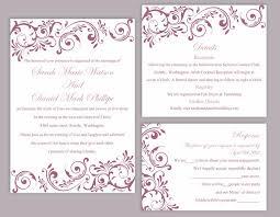 Wedding Invitations Templates Purple Diy Wedding Invitation Template Set Editable Word File Instant