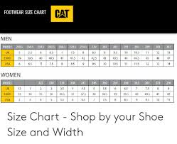Cat Footwear Size Chart Men 2745 299 303 307 Insole 2505