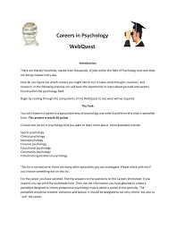 Careers In Psychology Webquest