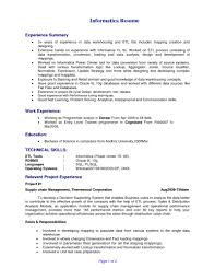 Informatica Developer Resume Sample Magnificent Etl Testing Resume Informatica In Informatica Etl 1