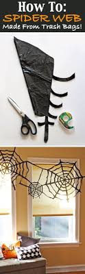 Trash bag spider webs & other Blood-Curdling DIY Halloween Party Decorations  - GleamItUp