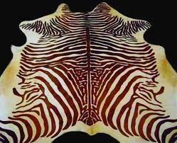 zebra cowhide rug dark brown and light beige spinal zebra print cow hide