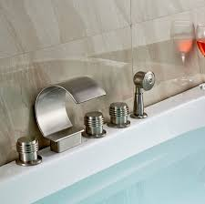 brushed nickel finish triple handle bathtub faucet with handheld shower