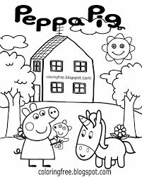 printable cute cartoon unicorn and peppa pig drawing easy coloring book pictures for young children