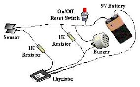 audio alarm sensing project pictorial diagram of thristor latching circuit using a buzzer as output