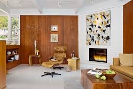 mid century fireplace screen living room midcentury with wood paneling leather lounge nesting tables