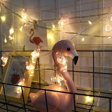 mini battery powered 6m 40 led flamingo string light for baby shower bedroom home party diy decoration warm white 0 5w
