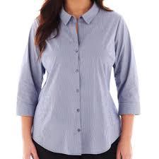 2x Worthington Woman Jcp Blue Stripe Button Down