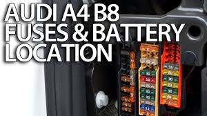 where are fuses and battery in audi a4 b8 (fusebox location 2017 A4 Black at Footwell Fuse Box A4 2017