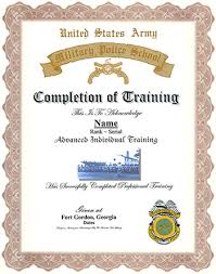 United States Army Military Police School Military Police Training Display Recognition Information Form