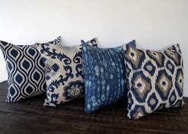 navy blue and beige pillow cover one navy and beige batik cushion cover pillow sham ikat indigo collection