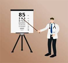 Doctor Chart Doctor Standing And Pointing To Eye Test Chart Health Care Concept