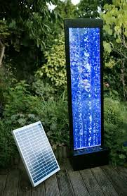 Solar Powered Pebble Fountain Water Feature Kit With LED Light Solar Powered Water Feature With Lights