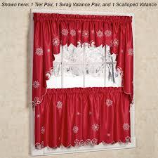 metallic snowflake snow holiday tier kitchen curtains for kitchen decoration ideas