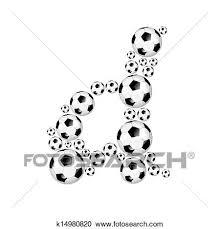 サッカー アルファベット 小文字 d クリップアート切り張りイラスト絵画集